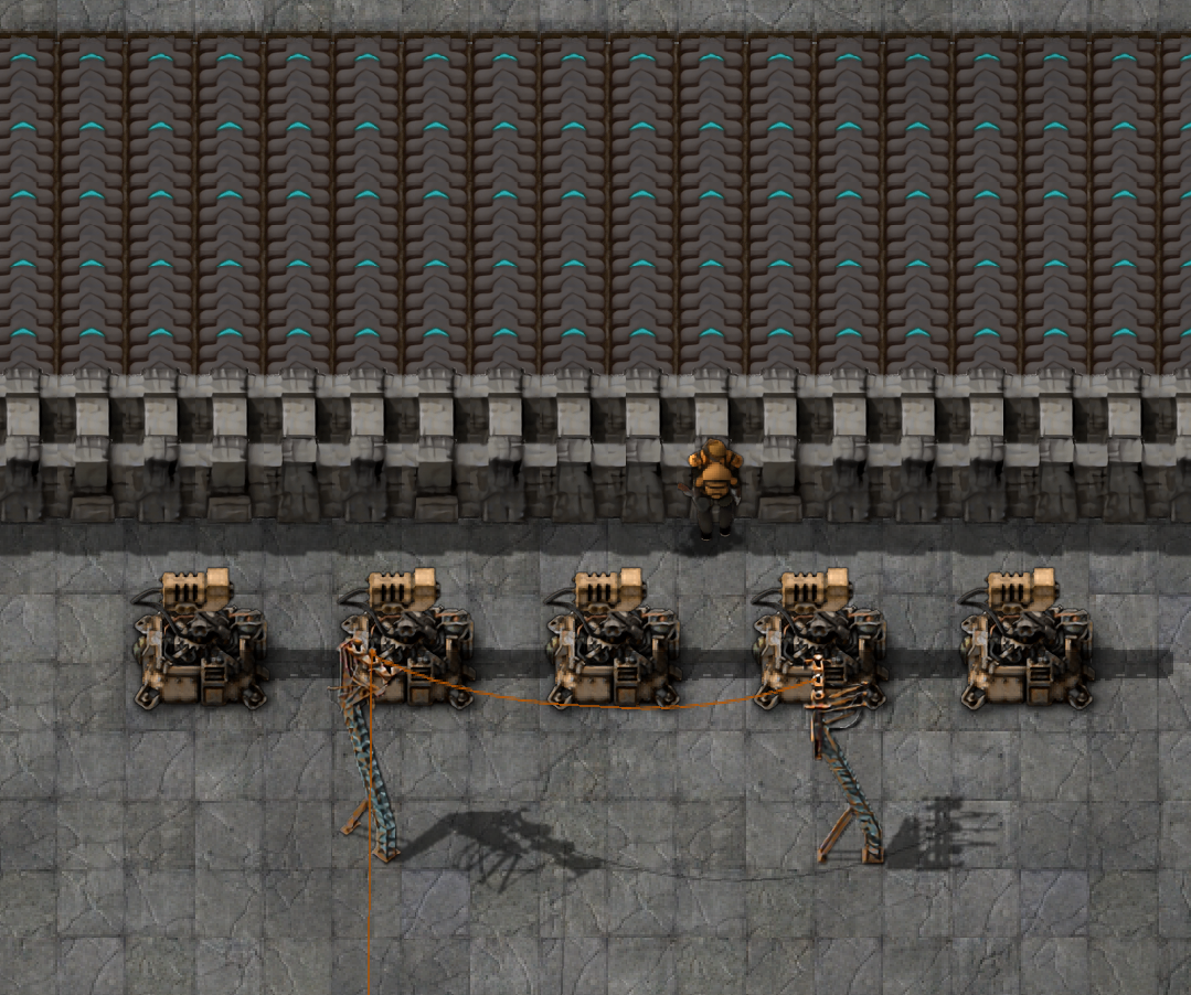 Laser turrets and a thick [Wall] with fast Transport belts for added ...