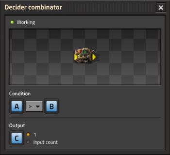 GUI of the decider combinator.